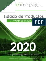 LISTADO DE PRODUCTOS 2020