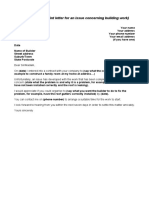 Example Building letter requesting repair for unsatisfactory work