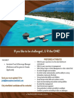 Atmosphere Kanifushi - Assistant f&b Manager