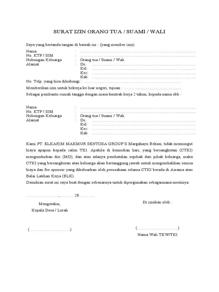 Contoh Surat Izin Orang Tua Untuk Melamar Kerja Contoh Seputar Surat