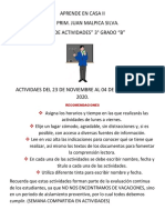APRENDE EN CASA II ACTIVIDAES DEL 23 DE NOVIEMBRE AL 04 DE DICIEMBRE  DEL 20
