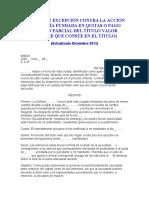 MODELO DE EXCEPCIÓN CONTRA LA ACCIÓN CAMBIARÍA FUNDADA EN QUITAS O PAGO TOTAL O PARCIAL DEL TÍTULO VALOR
