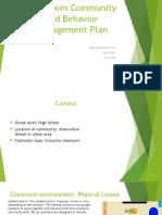 classroom community and behavior management plan