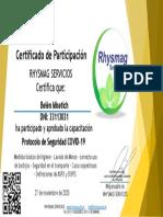 Certificado Protocolo de Seguridad Covid-19