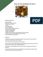 Poulet aux olives et aux pommes de terre