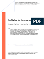 Cranco, Mariano y Lerner, Marina (2019). La logica de la reparacion