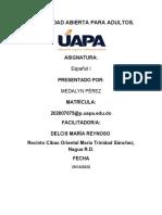 TAREA I ESPAÑOL I MEDALYN PEREZ 2020