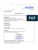Diving Instructor Job Adv
