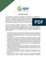 Postura de la AGAP sobre la derogatoria de la Ley N° 27360