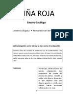 """Fernando van de Wyngard. Catálogo-Ensayo """"Niña Roja"""" (2019)"""