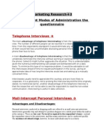 Modes of Administration of Questionnaire