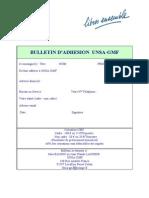 Bulletin d'adhésion UNSA-GMF