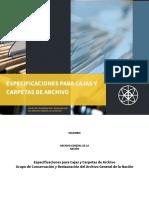 CAJAS Y CARPETAS DE ARCHIVO - ESPECIFICACIONES DEL AGN