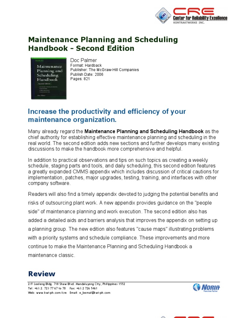 Maintenace_Planning_and_Scheduling_Handbook_2nd | Scheduling (Computing) |  Email