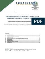 DÉLIMITATION DU PATRIMOINE URBAIN DE LA VILLE HISTORIQUE DE TLEMCEN EN ALGÉRIE