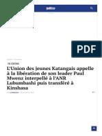 L'Union des jeunes Katangais appelle à la libération de son leader Paul Mwenz interpellé à l'ANR Lubumbashi puis transféré à Kinshasa   Politico.cd_1606175336257