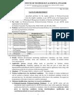 Regular Faculty Detailed Advt. 2020