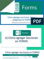Cómo agregar secciones, ítems y preguntas en Forms