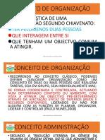 CONCEITO DE ORGANIZAÇÃO