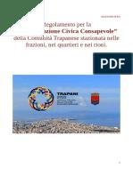 """Regolamento per la """"Partecipazione Civica Consapevole"""" della Comunità Trapanese stazionata nelle frazioni, nei quartieri e nei rioni"""