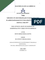 INDICADORES DE AUTOEVALUACIÓN PARA LA MEJORA DEL MODELO DE CALIDAD INSTITUCIONAL DE LA UNIVERSIDAD PERUANA DE LAS AMÉRICAS, LIMA 2017