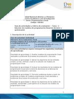 Guia de actividades y Rúbrica de evaluación - Tarea 4 - Solución de modelos de programación lineal de decisión y optimización