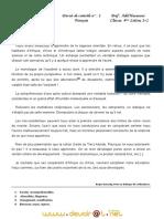 Devoir de Contrôle N°1 - Français - Bac Lettres (2010-2011) Mr Hasnaoui Adel