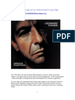 VARIOUS POSITIONS by Leonard Cohen ~ review by Pieter Uys