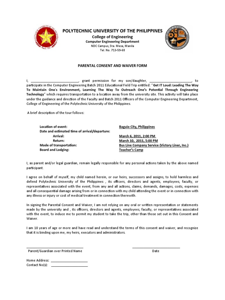 parental consent and waiverEDITED – Waiver Letter Template