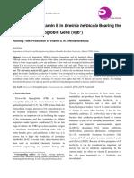 Production of Vitamin E in Erwinia herbicola Bearing the Vitreoscilla Hemoglobin Gene (vgb+)