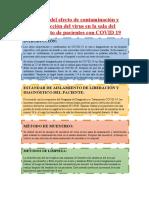 Análisis del efecto de contaminación y desinfección del virus en la sala del aislamiento de pacientes con COVID 19