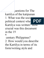 Guide Questions for the Kartilya of the Katipunan