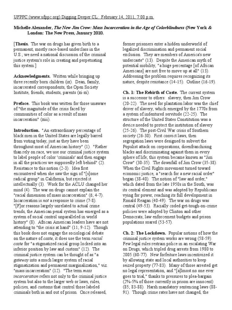 Alexander  The New Jim Crow (2010)  Synopsis  Jim Crow Laws  Prison