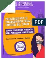 Protocolo de Bioseguridad - Examen de Admisión UdeA 2021-1