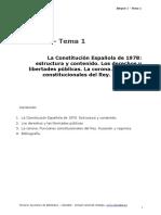 BLOQUE 1. TEMA 1. LA CONSTITUCION ESPAÑOLA DE 1978 ESTRUCTURA Y CONTENIDO