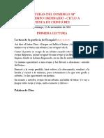 LECTURAS DEL DOMINGO 34º DEL TIEMPO ORDINARIO