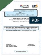 L'importance de la caisse nationale d'assurance chômage dans la création d'entreprise au niveau de la Wilaya d'Annaba Suivi d'un stage pratique au niveau de l'agence régionale CNAC - Annaba -Algérie