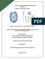 Experencia de Aprendizaje Mediada Por TIC en Educación Pre-Escolar