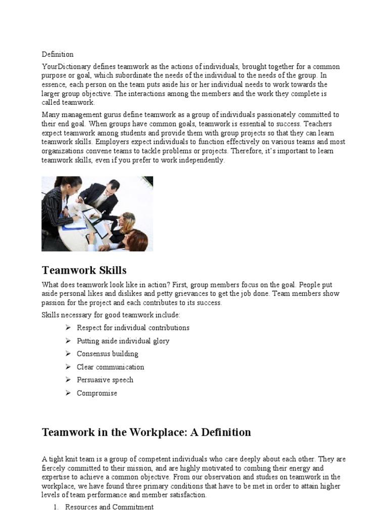 definition-teamwork | leadership | leadership & mentoring