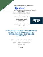 """MPLEMENTACIÓN DE ACCESORIO DE SUJECION ELECTROMAGNETICA REGULABLE PARA TALADRO DE COLUMNA"""""""