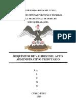 REQUISITOS DE VALIDEZ DEL ACTO ADMINISTRATIVO TRIBUTARIO