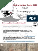 Christmas Bird Count-Lakewood Circle 2020 Kickoff December 7, 2020