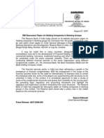 RBI discussion paper on universal banking or holding company