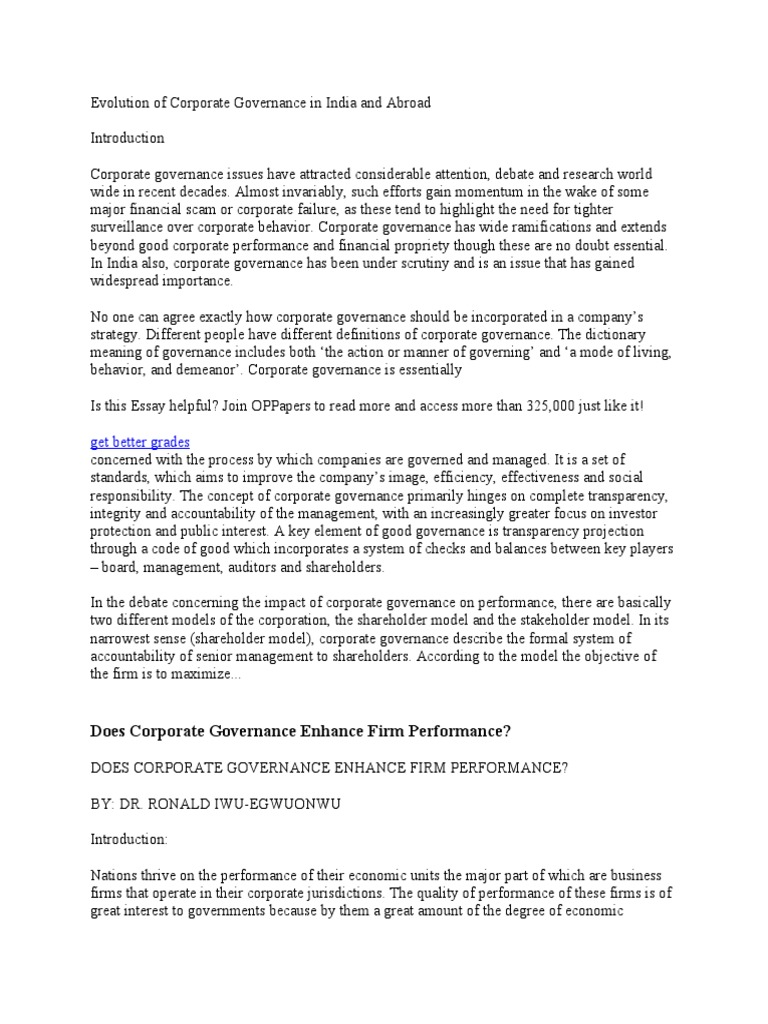 Evolution Of Corporate Governance In India And Abroad V How To Write Essay Papers also Photosynthesis Essay  Example English Essay
