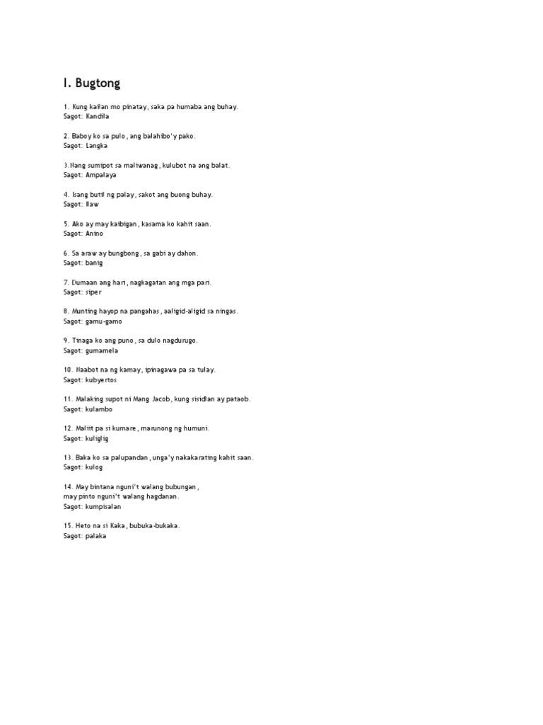 ano ang pinaka mahirap na bugtong tagalog Mga halimbawa ng bugtong examples of filipino riddles bugtong:  sagot:  answer mesa (table) bugtong: aling malapit ang malayo  hahahahaha  medyo may pagkahirap at kauntian din naman ang hindi mahirap.