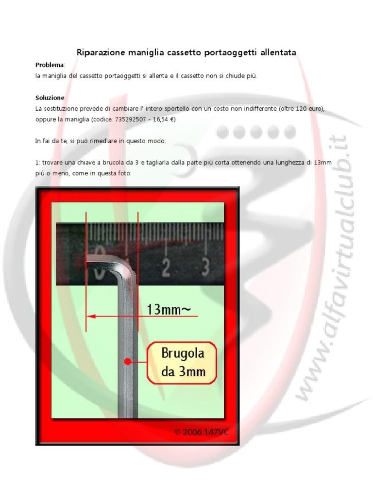 Alfa 147 Riparazione Maniglia Cassetto Portaoggetti Allentata