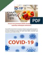 Virusul care provoacă COVID-19 poate trăi pe suprafața ambalajului alimentar?
