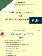 Chapitre 2- Analyse de l'activité et des résultats de l'entreprise