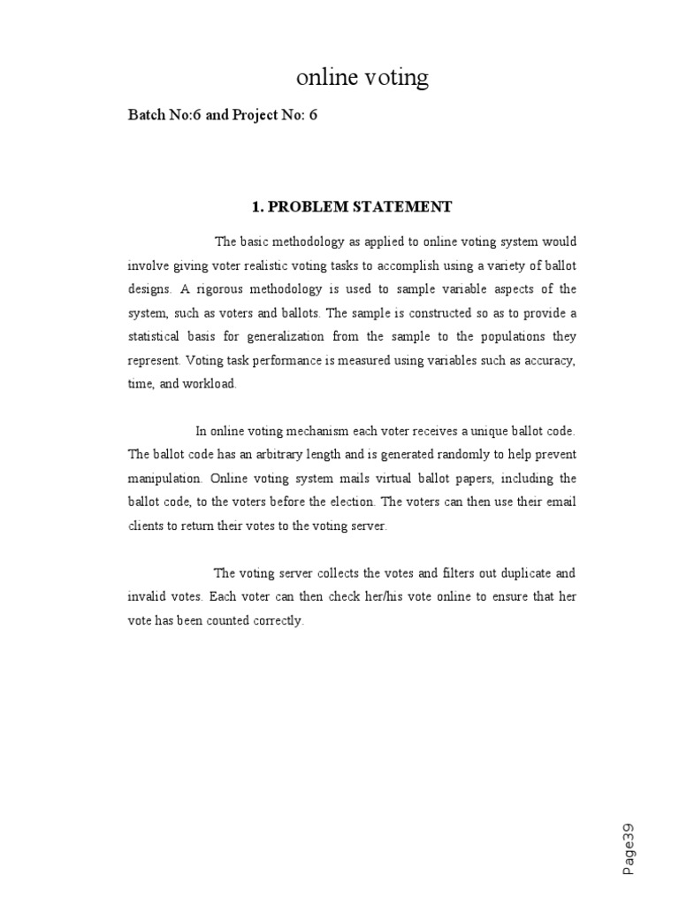 statement of the problem of voting system
