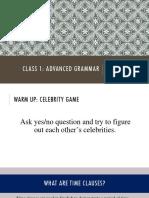 Class 1. Advanced grammar. Past simple vs Present Perfect